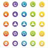 6个五颜六色的图标导航万维网 库存照片