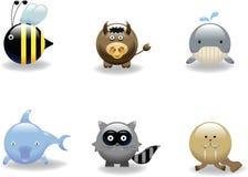 6个动物图标 免版税库存照片