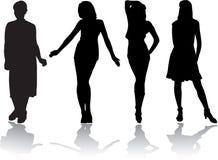 6个女孩被设置的剪影 免版税库存照片