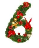 6个字母表圣诞节编号 免版税图库摄影