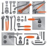 6个工艺现有量图标被设置的工具 免版税库存图片