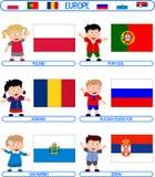 6个欧洲标志孩子 免版税库存图片