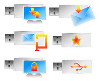 6个计算机推进闪光图标设置了usb向量 免版税库存照片