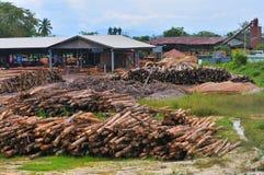 6个锯木厂系列木材 库存照片