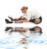 6企业沙子白色瑜伽 库存照片