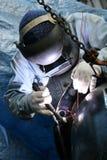 6位焊工工作 免版税库存照片