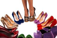 6双行程鞋子 库存图片