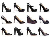 6双黑暗的女性鞋子 免版税库存图片
