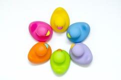 6只不同颜色卫生间鸭子在一起 免版税库存图片