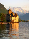 6座城堡chillon瑞士 库存照片