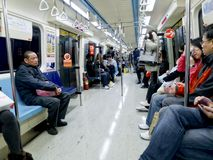 6支架在地铁台北里面的2月 免版税库存图片