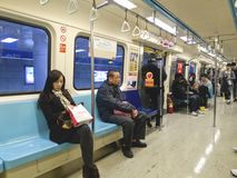6支架在地铁台北里面的2月 免版税库存照片
