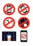6 ícones do smartphone do vetor Foto de Stock