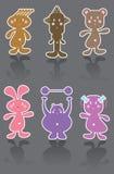 6 ícones engraçados dos desenhos animados ilustração do vetor