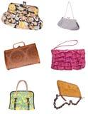 6 γυναικεία πορτοφόλια τ&sigm Στοκ Εικόνα