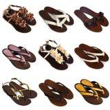 6 θηλυκά πολύχρωμα παπούτσια Στοκ Εικόνες