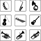 6 όργανα μουσικά Στοκ Φωτογραφία