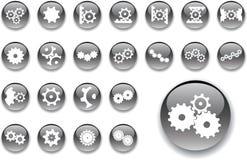 6 больших установленных шестерен кнопок Стоковая Фотография