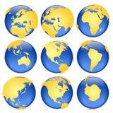 6 взглядов глобуса Стоковое Изображение