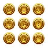 6 икон золота кнопки установили сеть Стоковое Фото