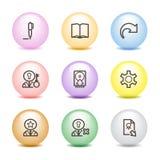 6 икон цвета шарика установили сеть Стоковое Изображение