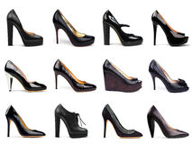 6 темных женских ботинок Стоковые Изображения RF