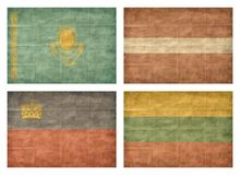 6/13 Flags of European countries. Vintage collection of european country flags isolated on white background. Kazakhstan, Latvia, Liechtenstein, Lithuania royalty free illustration