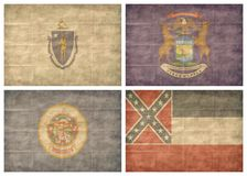 6/13 US state flags. Retro US state flags isolated on white background Royalty Free Stock Image