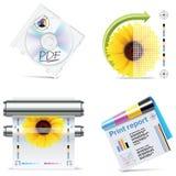 6个图标零件打印集合界面向量 库存照片