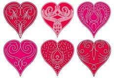 красный цвет 6 сердца Стоковые Фотографии RF