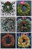 套6张照片圣诞节装饰花圈 图库摄影