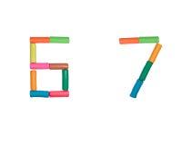 6 7个字母表编号彩色塑泥 库存图片