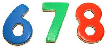 6 7 8个五颜六色的磁性编号 免版税图库摄影