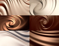 6 abstract chocolate backgrounds set Stock Photos