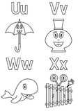 6 alfabetfärgläggningungar Arkivbild