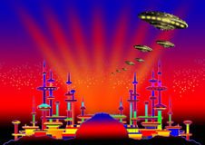 6 alien city Στοκ εικόνες με δικαίωμα ελεύθερης χρήσης
