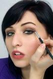 6 applicerar härligt makeupkvinnabarn Arkivfoton