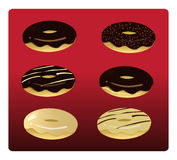 6 Assorted Doughnuts. Assorted set of yummy donuts: chocolate glazed; chocolate glazed with sprinkles; chocolate glazed with vanilla icing; chocolate glazed Royalty Free Stock Photos