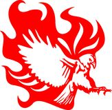 6 atacking φλόγες αετών Στοκ Εικόνα