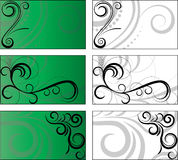 6 background designs. 3 green, 3 white business card templates and background designs -  file Stock Photos