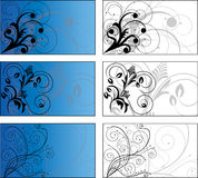 6 background designs. 3 blue, 3 white business card templates and background designs -  file Royalty Free Stock Photography