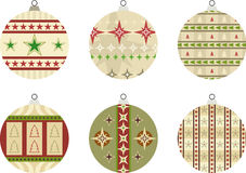 6 Baubles. Set of 6 baubles Illustration with star and Christmas tree designs – also suitable for use as seasonal gift tags Vector Illustration