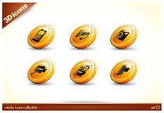 6 Beautiful glossy Shiny 3D Icons. Media collection - set 01 - EPS file included royalty free illustration