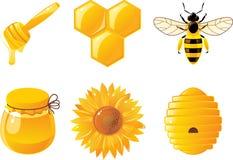 6 Bienen- und Honigikonen Stockfotografie