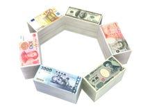 6 bills collection. USA, British, Euro, Chinese, Japanese and Taiwanese bills Royalty Free Stock Image