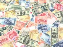 6 bills collection. USA, British, Euro, Chinese, Japanese and Taiwanese bills Stock Image
