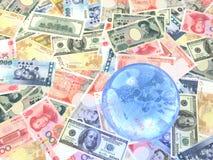 6 bills collection. USA, British, Euro, Chinese, Japanese and Taiwanese bills with globe Stock Photos