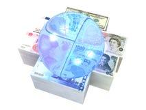 6 bills collection. USA, British, Euro, Chinese, Japanese and Taiwanese bills with a globe Stock Photo