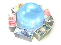 6 bills collection. USA, British, Euro, Chinese, Japanese and Taiwanese bills with a globe Royalty Free Stock Image
