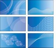 6 blauwe ontwerpen van het adreskaartjemalplaatje Stock Fotografie